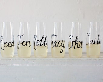 Personalized Stemless Champagne Flutes / Bridesmaid Gift / Toasting Glasses / Bachelorette Gift / Stemless Champagne Flute