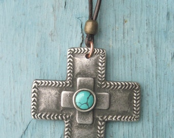 Santa Fe Stamped Cross Necklace With Genuine Turquoise Xtra Long