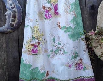 Woodland Gnome Mama . vintage fabric long skirt