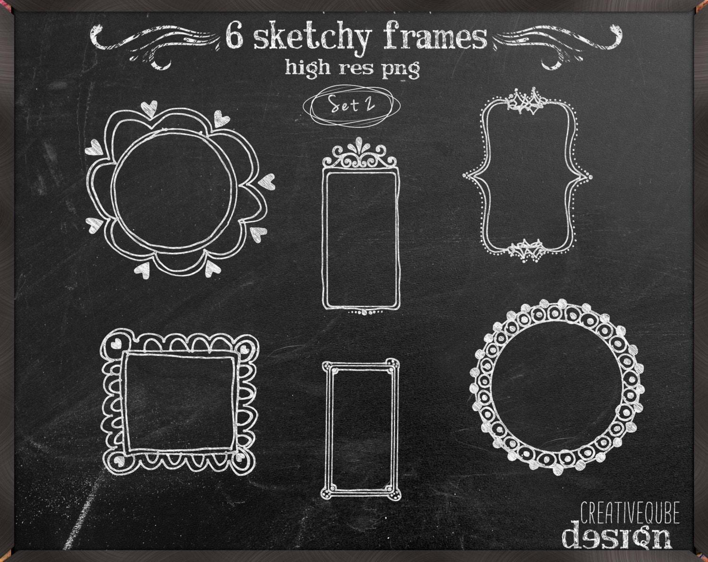 frames clipart chalkboard hand drawn frames by creativequbedesign. Black Bedroom Furniture Sets. Home Design Ideas