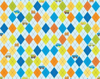 Blue Green and Orange Argyle Car Flannel Fabric, On The Go By Bo Bunny For Riley Blake, Argyle Print in Blue, 1 yard