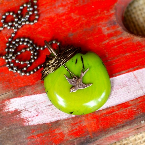 His Eye is on the Sparrow APPLE GREEN Necklace (large)