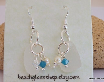 SALE - Sea Glass Jewelry - Beach Glass Earrings - Lake Erie Beach Glass