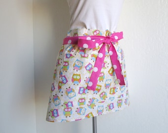 Half Apron - SALE Owls All Over and  Retro Pink Polka Dots, very fun vendor or cafe apron, sweet to entertain and cook in
