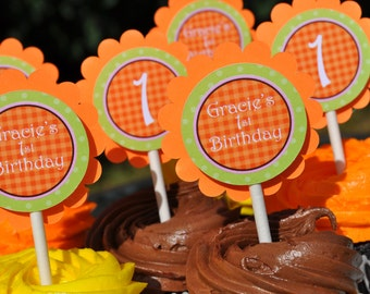 Pumpkin Cupcake Toppers - Pumpkin Birthday Party - Halloween, Autumn Birthday Party Decorations - Set of 12