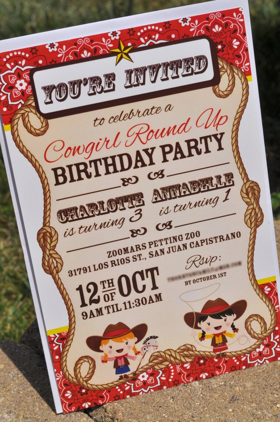 cowgirl birthday party invitations - cowgirl birthday decorations, Party invitations