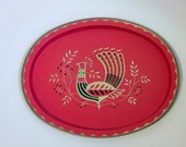 Vintage Fabcraft Metal Tray Dutch Peacock Red