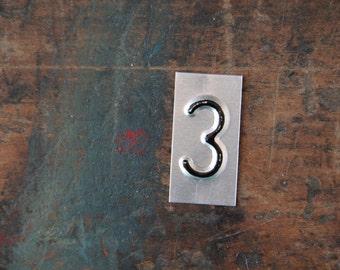 vintage industrial number 3 / metal letters / letter art