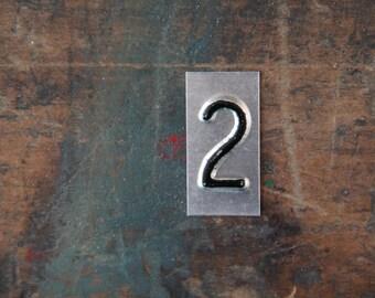 vintage industrial number 2 / metal letters / letter art