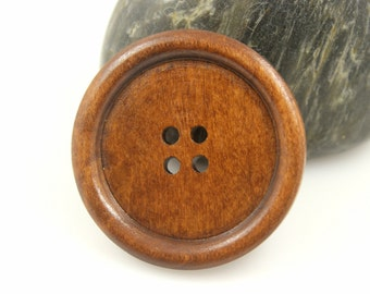 Minimalist Bold Border Brown Color Four Holes Wooden Buttons, 1.58 inch (6 in a set)