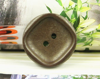 Wooden Buttons - Square Recessed Center Brown Wooden Buttons, 1 inch (10 in a set)