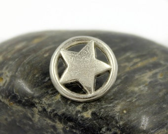 Metal Buttons - Ring Star Metal Buttons , Matte Silver Color , Openwork , Shank , 0.59 inch , 10 pcs