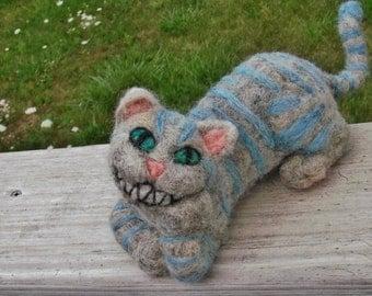 Cheshire Cat Figure - Needle Felt Alice in Wonderland doll