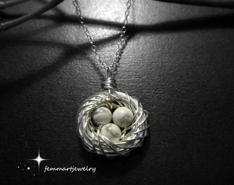 Bird Nest Jewelry - Mothers Day Gift - Birds Nest Necklace - Mommy Necklace - Mother of the Bride - femmart