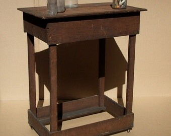 Vintage Antique Merchants Table on Casters / Dark Brown / Simple / Primitive / Made from Shipping Crates