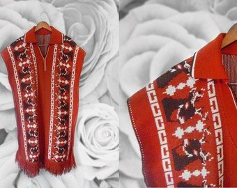 Vintage Mexican Ethnic Reindeer poncho