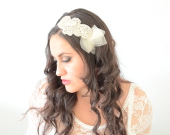 READY TO SHIP Bridal Ivory petal Rhinestones with pearl Headband,Tulle rhinestone pearl headband with organza flower petals,illusion tulle