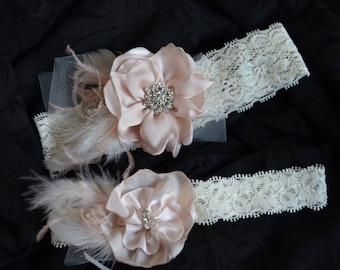 Blush Flower fascinator,Blush Garter,Lace garter,Flower with feather garter,Garter set,Rhinestones,Style C059