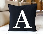 Monogram Pillow Cover 18 x 18 Initial Cushion Black and White Decorative Pillow Modern Throw Pillow