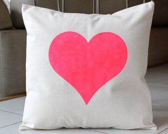 Big Fluorescent Pink Heart Pillow Case - Hand Painted on Natural Cotton Canvas -Hot Pink Cushion Cover - 16x16 Pillow Cover