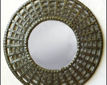 Metal Mirror Wall Hanging - Basketweave Design - Metal Wall Art - Metal Mirror Wall Decor - Haitian Recycled Steel Drum Art - J-116-M