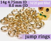 14g 4.75mm ID 8.0mm OD gold filled jump rings -- goldfill 14g4.75 jumprings 14k goldfilled jewelry supplies findings
