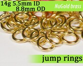 14g 5.5mm ID 8.8mm OD NuGold brass jump rings -- 14g5.50 jumprings gold golden links jewelry supplies findings
