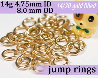 14g 4.75mm ID 8.0mm OD gold filled jump rings -- goldfill 14g4.75 jumprings 14k goldfilled