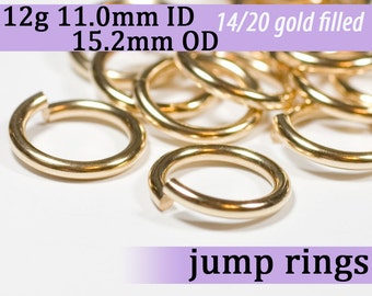 12g 11.0mm ID 15.2mm OD gold filled jump rings -- 12g11.00 goldfill jumprings 14k goldfilled