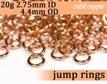 20g 2.75 mm ID 4.4 mm OD copper jump rings -- 20g2.75 open jumprings links jewelry supplies findings