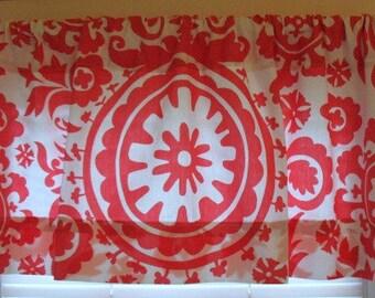 SALE Window Curtain Valance - Premier Prints Coral Suzani 52 x 16