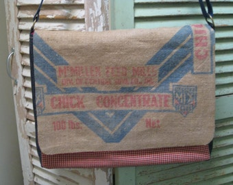 Vintage Feed Sack Laptop Bag Upcycled CHICK FEED SACK Large Handmade Messenger Bag