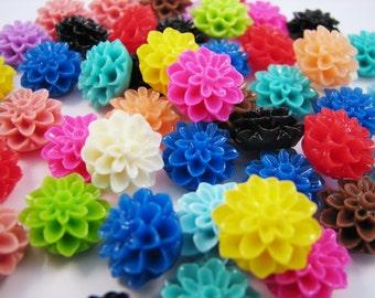 WHOLESALE - 15MM Chrysanthemum Flower Cabochons - 65 pieces