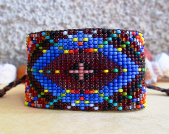 Huichol, Mandala Inspired, Galactic Spaceship Diamond Beaded Cuff Bracelet 4