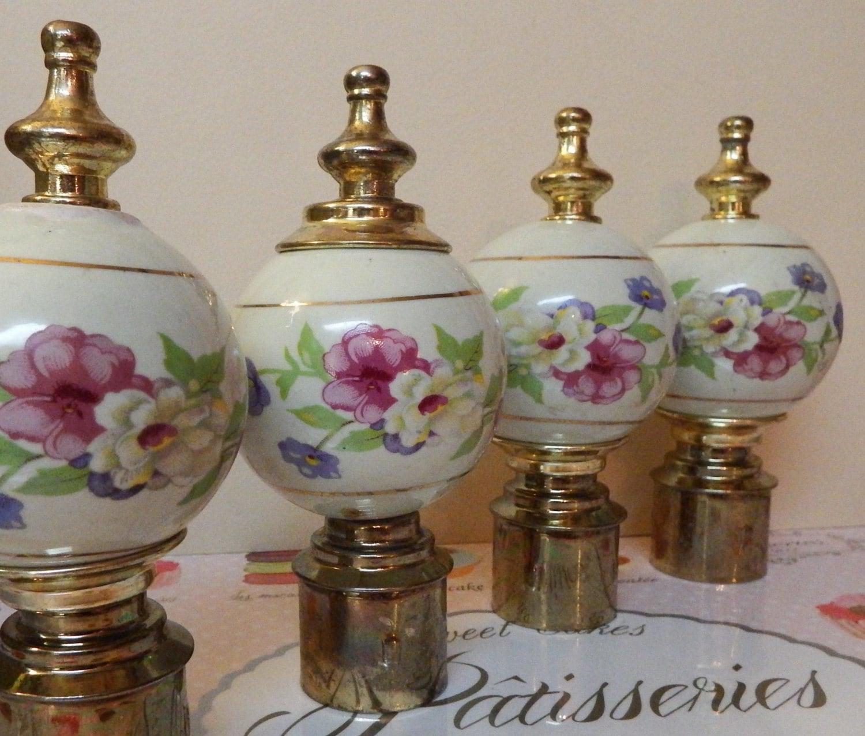 4 Vintage Porcelain and Brass Bed Knobs