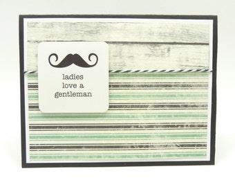 Men's Dapper Birthday Card, Mustache Card for Him, Black and Aqua Handmade Paper Greeting Card for HIm