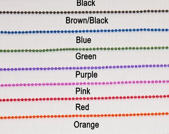 Ballchain Necklace 10 Colors 2.4mm 24 inches Off White Nickel Free Lead Free  Black Red Pink Green Blue Brown Orange Silver Tone Purple