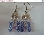 FINAL SALE Purple Tanzanite and Violet Swarovski Chandelier Earrings