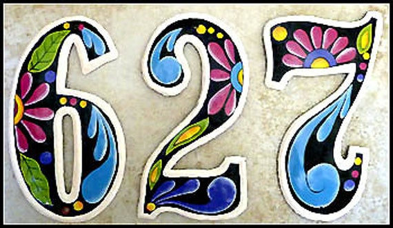 1 house number 4 1 2 hand painted metal address sign - Decorative house number signs ...