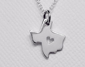 Tiny Texas or California State Charm Necklace with Heart Cutout Sterling Silver