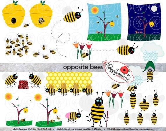 opposite bees clipart digital clip art 300 dpi school. Black Bedroom Furniture Sets. Home Design Ideas