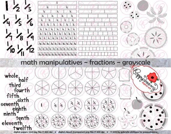 Math Manipulatives Fractions GRAYSCALE Clipart Set - (300 dpi) School ...