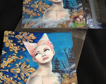 Signed Art Prints- Her Dilemma 8x8 inches Surreal Lowbrow Art