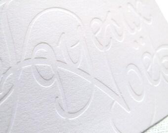 Letterpress Joyeux Noël - Script in Blind Deboss (Set of 6)