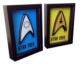 Star Trek Poster Insignia Art Captain Kirk Mr. Spock 3D Pop Art Print