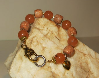 Coral Moss Agate and Tangerine Dyed Jade Charm Bracelet