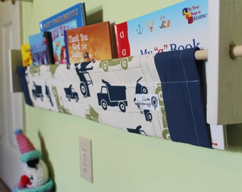 Nursery book sling storage - Dump truck theme, construction blue green bedroom