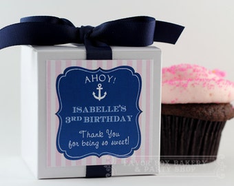 SAILOR GIRL - One Dozen Personalized Cupcake Mix Party Favors