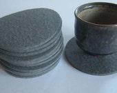 One Dozen Gray Industrial Felt Coasters, Gray Drink Coasters