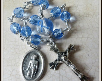 St. Peregrine Rosary, Blue Ribbon Prostate Cancer Rosary, Cancer Support / Prayer Help, Blue Awareness Ribbon